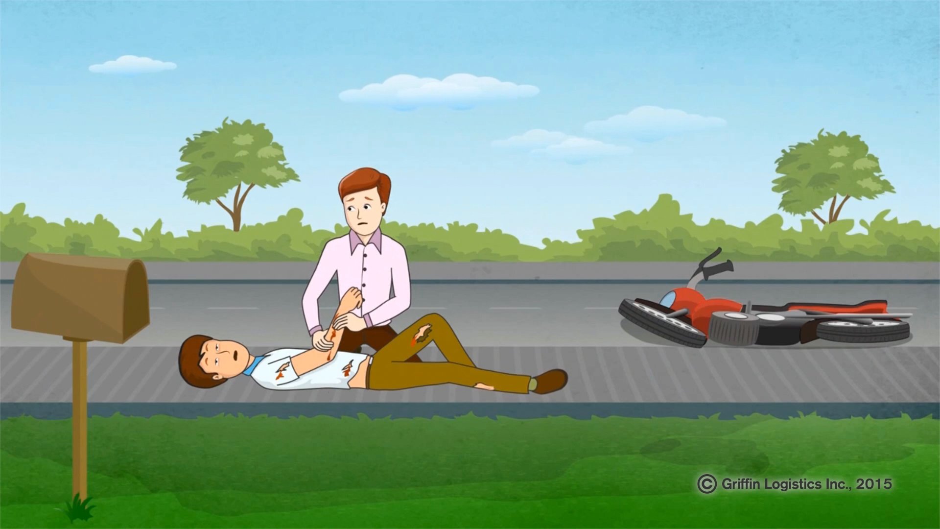 A screenshot of a bystander attending a crash victim in an instructional video in the Tramedic™ training portal.