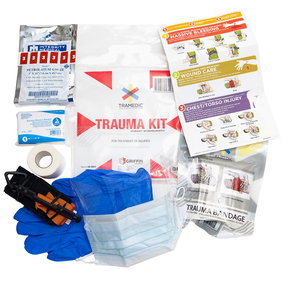 The Tramedikit™ is an individual trauma kit packed in small, portable, resealable bag and contains the necessary items to treat serious injuries such as heavy bleeding or penetrating chest trauma.