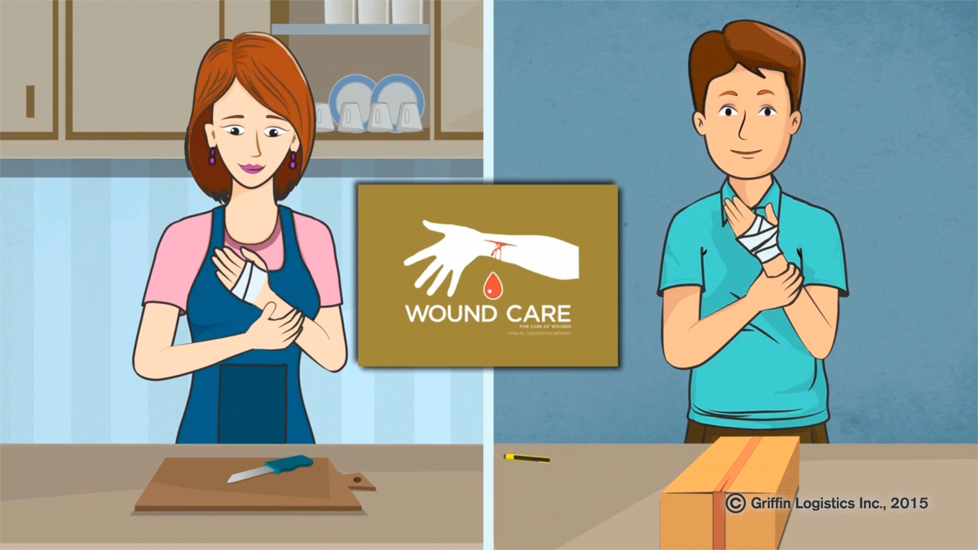 A screenshot of a instructional video demonstrating the use of a Tramedic™ Wound Care Sub Kit in the Tramedic™ training portal.