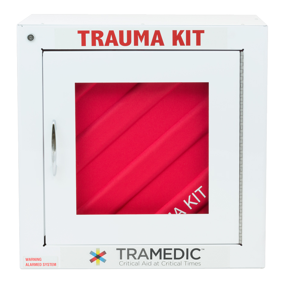 The Tramedic™ Cabinet Kit is designed for use in industrial facilities, educational facilities, sporting venues, and areas where a larger number of people are present. The trauma kit is housed in a wall-mounted case and can be locked or integrated into your current alarm system.