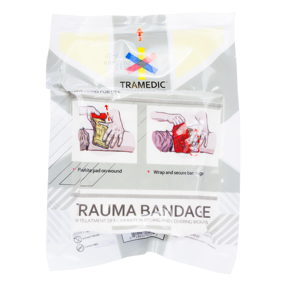 The Tramedic™ Trauma Bandage is for treatment of moderate bleeding and covering small to large wounds. It's compact design allows for easy travel and storage so you can access it just about anywhere.