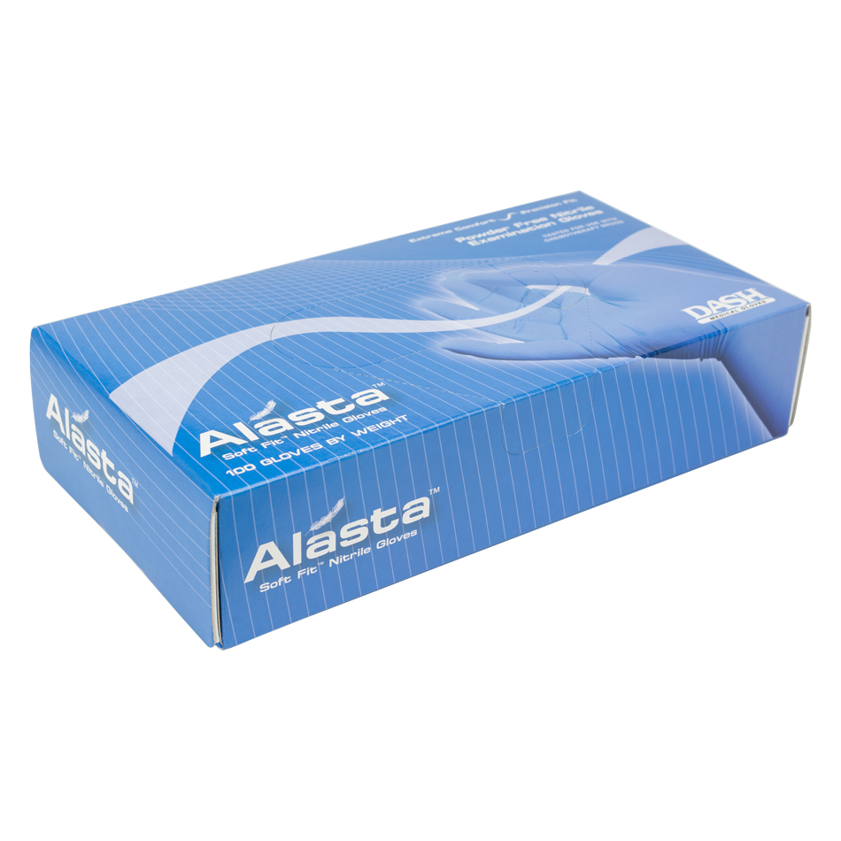 Each box of gloves contains approximately 50 pairs. The Alasta Nitrile Gloves are designed to be comfortable with the ability to stretch. The textured fingers provides the user with additional grip and dexterity.